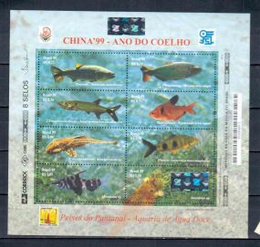 BRASIL sheet - FISH  Animals On Stamps   Asia Stamp Collecting Birds of Prey Owls Hawks Eagles Animals  Bangladesh  Elephant Marine life Leopard   Spotted Deer Belize  Bear Tiger  Stamps  Topical Stamps  Wildlife