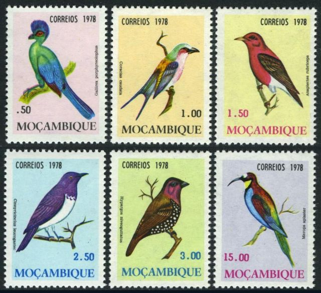 Mozambique Scott #585 - Scott #590  (MI 648-653) Birds of Mozambique  1978 Belize Animals On Stamps   Asia Stamp Collecting  Bangladesh  Elephant  Leopard  Birds of Prey Owls Hawks Eagles Animals FISH  Spotted Deer BRASIL Bear Tiger  Stamps  Topical Stamps