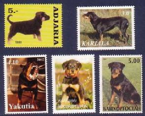 Animals on Stamps  Rottweiler Dog stamps  Dogs on Stamps   Topical Stamp Collecting cOLLECTION OF DOG STAMPS    Rottweilers On Stamps  Rottweiler Stamps