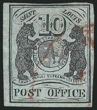 St. Louis Mo., 10c Black  St Louis Bears Stamp