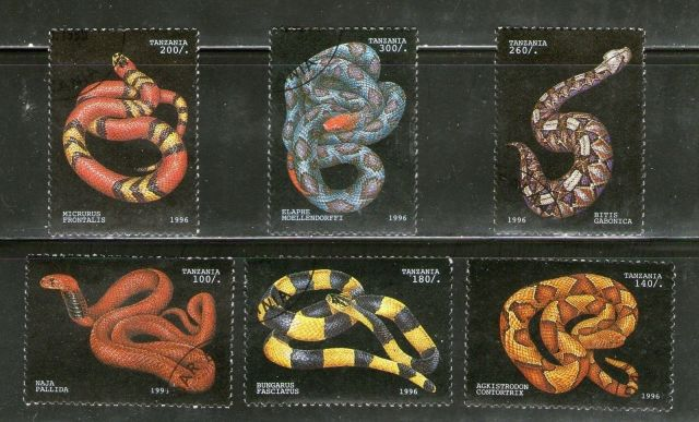 Tanzanian Reptiles on Stamps Animals on Stamps TANZANIA Stamps SNAKE Stamps 1996 Topical stamp collection  thematic stamp collecting  postage stamps Africa Venomous snakes African reptiles Lizards on Stamps herpetology wildlife wild animals poisonous snakes reptiles of tanzania