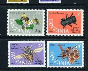 Animals on Stamps  Tanzania Scott# 364-67   Africa Stamp Collecting  Topical Stamp Collection Insects  Animals of Africa   African Wildlife  Tanzania Insect Stamps