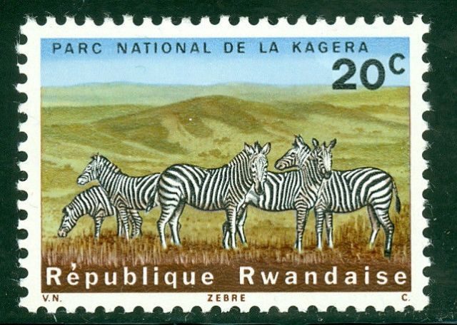 Zebras on Stamps - Rwanda National Parks -  Rwanda Scott #100 - National Park of La Kagera - Animals on Stamps - Zebra on Stamps - National Parks - African Zebra - Zebra