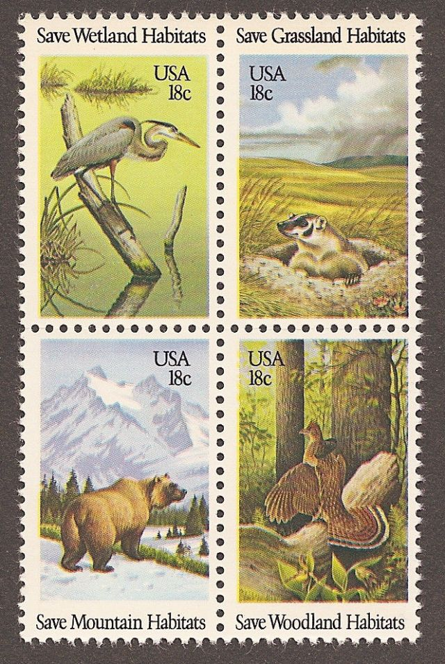 Animals on stamps  wildlife  bear  heron  grouse badger  US Scott #1921-1924 Wildlife Habitat Block