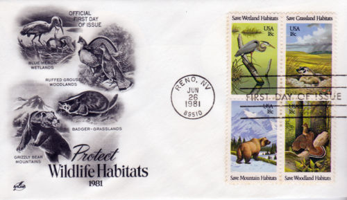 animals on stamps  Wildlife Habitats 18c Stamps United States 1981 Scott #1921-1924 set   Great Blue Heron (Ardea herodias)  -   Wetlands  North American badger (Taxidea taxus)  -  Grasslands North American Grizzly Bear (Ursus arctos horribilis)  -  Mountains Ruffed Grouse (Bonasa umbellus)  -  Woodlands