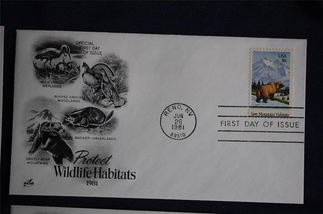 Great Blue Heron (Ardea herodias) Wetlands  North American badger (Taxidea taxus)  -  Grasslands North American Grizzly Bear (Ursus arctos horribilis)  -  Mountains Wildlife Habitats 18c Stamps 4 FDCs Artcraft Cachets Sc#1921-24  Grizzly Bear
