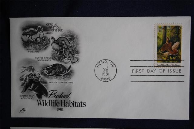 Wildlife Habitats 18c Stamps 4 FDCs Artcraft Cachets Sc#1921-24  Ruffed GrouseGreat Blue Heron (Ardea herodias) Wetlands  North American badger (Taxidea taxus)  -  Grasslands North American Grizzly Bear (Ursus arctos horribilis)  -  Mountains