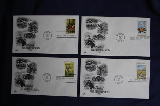 animals on stamps  Wildlife Habitats 18c Stamps United States 1981 Scott #1921-1924 set   Great Blue Heron (Ardea herodias) Wetlands  North American badger (Taxidea taxus)  -  Grasslands North American Grizzly Bear (Ursus arctos horribilis)  -  Mountains Ruffed Grouse (Bonasa umbellus)  -  Woodlands      Wildlife Habitats 18c Stamps 4 FDCs Artcraft Cachets Sc#1921-#1924