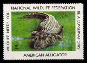 1978 National Wildlife Federation (NWF) AMERICAN ALLIGATOR Poster Stamp