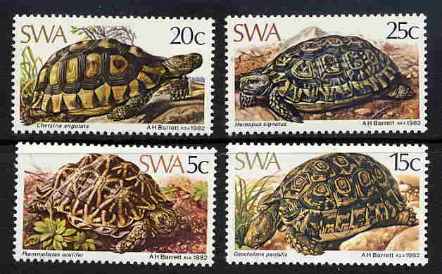 1982 South West Africa Turtle - Tortoise set of four stamps (Scott #487-490) MINT