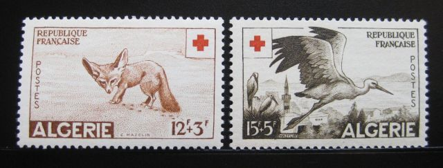 ALGERIA 1957 VARIOUS ANIMALS HARD TO FIND SET SC# B88-89 SCV $18 MLH