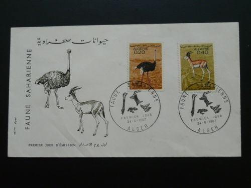 Algeria 49900 fauna of Africa ostrich gazelle FDC