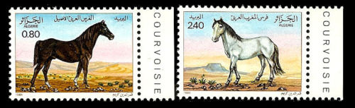 ALGERIA. Horses. Granite Paper. 1984. Scott 743-744. MNH