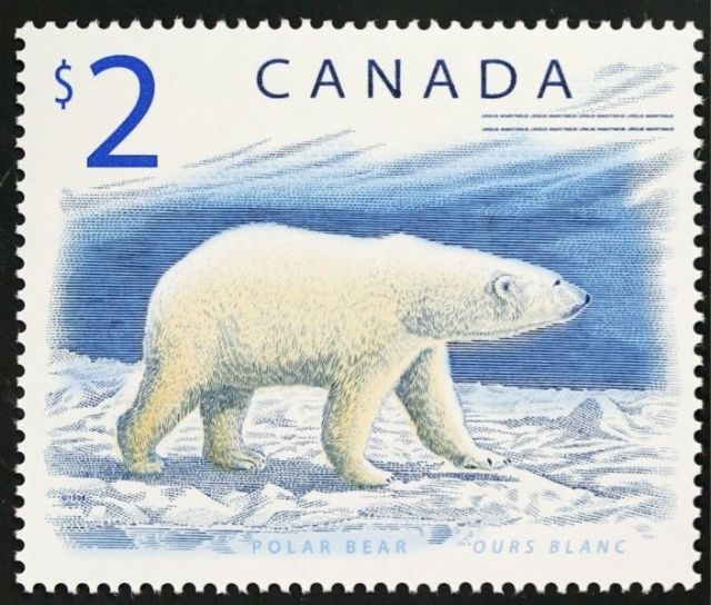 CANADA Scott #1690 1998 Polar Bear $2  Animals on stamps bears on stamps postage stamp collection topoical stamp collecting thematic stamp collector collectibles stamp collecting hobby wild animals on stamps wildlife stamps bear stamps polar bear stamps candanian postage stamps