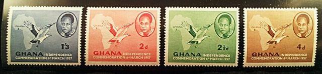 Ghana Stamps Scott # 1 - 4 MNH (Minkus # 161 - 164) MINT 1957 Independance March