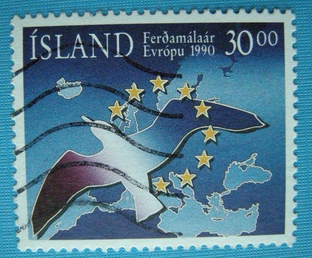 ICELAND Scott #712 1990 Europe Map Bird Stars Used