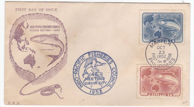 Philippines 1952 Pacific Fisheries Council FDC Scott 578-579