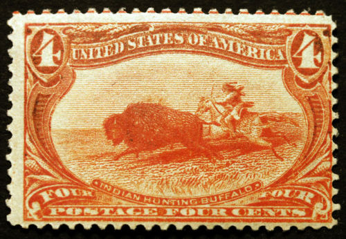Animals on Stamps United States stamps Topical stamps US Scott #287 4c Orange 1898 Trans Mississippi  indian hunting buffalo native american plains bison (Bison bison bison) 1898 American bison (Bison bison)  American buffalo North American species of bison  thematic stamp collecting grasslands massive herds wildlife mammals  Bovidae extinct species endangered species  Wolf predation  grizzly bear Yellowstone Park bison herd Plains Indians