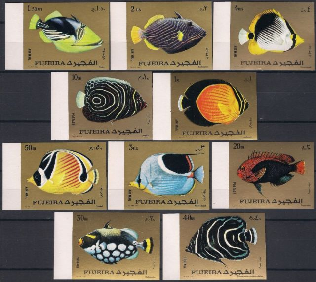 Fujeira 1972 - Marine Fishes - stamps - fish stamp collection - topical stamp collecting  animals on stamps   wildlife postage stamps  tropical fish