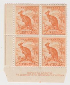 AUSTRALIA kangaroo stamp  animals on stamps topical stamp collecting thematic stamp collector block of four  australia stamp collecting wildlife on stamps wild animal postage stamps block of four stamps