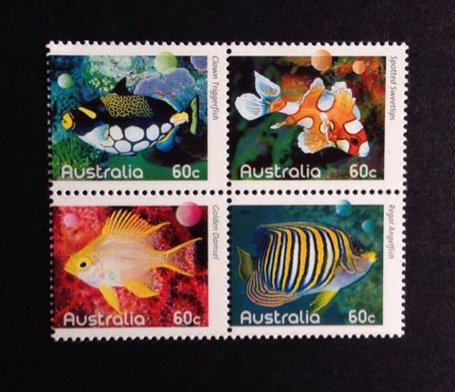 AUSTRALIA - 2010 Fishes of The Reef    animals on stamps australia  marine fishes clown tiggerfish topical stamp collecting thematic stamp collector spotted sweetlips golden damsel coral reef fishes stamp collecting as a hobby wildlife stamps fish stamps postage stamps  collectibles  wild animals on stamps regal angelfish
