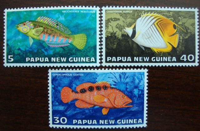 Papua New Guinea 1976 Marine Fishes  animals on stamps postage stamp collecting topical stamp collecting thematic stamp collector wildlife stamps wild animals onf stamps fish on stamps marine fishes on stamps coral reef fishes on stamps  1976 Marine fishes set  butterflyfish