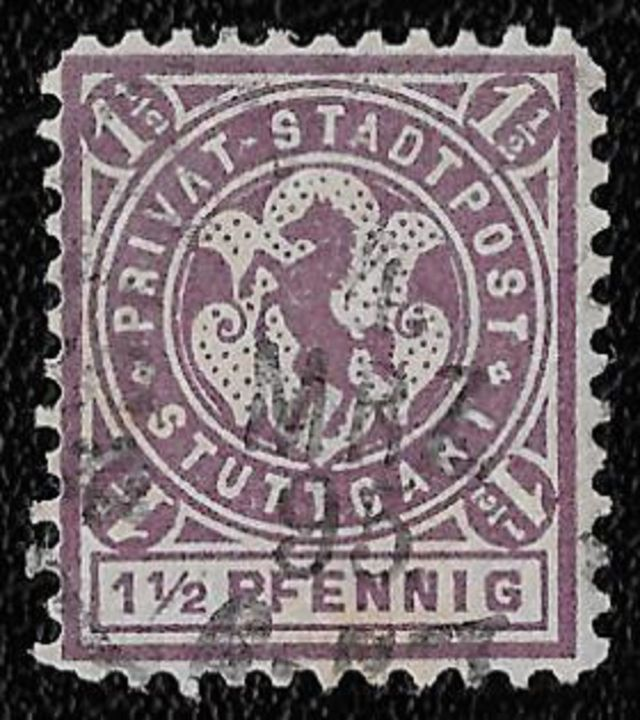 1887 Stuttgart Baden-Wurttemberg Germany Jumping Horse 1.5pf Local cd-1895  postage stamps  horses on stamps  animals on stamps wildlife stamps topical stamp collecting thematic stamp collector  collecting postage stamps as a hobby horse breeds types of horses stamp collector of fauna wild animals on stamps wildlife on stamps mammals on stamps postage stamps of the world