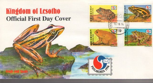 animals on stamp 1994 Philakorea Frogs and Toads FDC - Lesotho African Frogs African Wildlife on stamps Wild animals on stamps Topical stamp collection thematic stamp collector  frog stamp collection  amphibian stamps  african amphibians african toads postage stamps  frogs and toads of africa