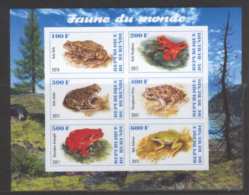 2011 Burundi 6 Frog stamps   Wildlife stamps animals on stamps postage stamps with animals topical stamps collecting thematic stamp collection animal stamp collector wild animals on stamps african stamps african wildlife african wild animals on stamps poastage stamp collecting as a hobby