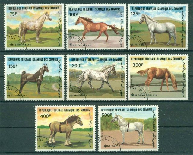 COMORES 1983 HORSES  postage stamps  horses on stamps  animals on stamps wildlife stamps topical stamp collecting thematic stamp collector  collecting postage stamps as a hobby horse breeds types of horses stamp collector of fauna wild animals on stamps wildlife on stamps mammals on stamps postage stamps of the world