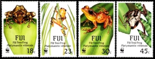Fiji Scott #591-#594 1988 WWF Stamps  Tree Frogs  animals on stamps frogs on stamps tree frog stamps  frogs on stamps wildlife stamps wild animals on stamps topical stamps collecting thematic stamp collector  amphibians on stamps  world wildlife fund stamps