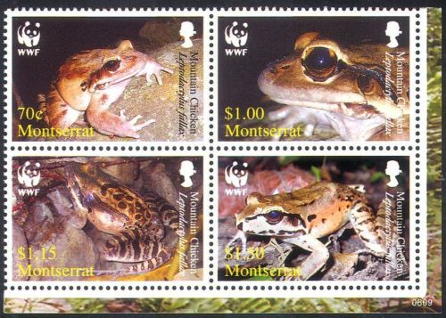 Montserrat 2006 WWF Mountain Chicken Frog Stamps  wildlife stamps frogs on stamps amphibian stamps  topical stamp collecting thematic postage stamp collection wild animal stamp collector  frogs on stamps topical postage stamps