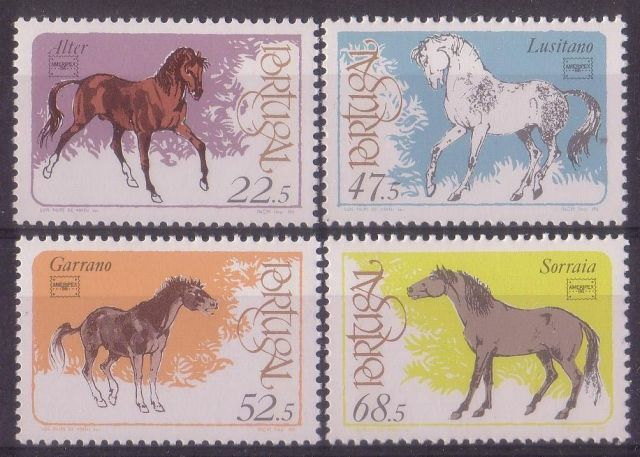PORTUGAL 1986 HORSES horses on stamps  animals on stamps wildlife stamps topical stamp collecting thematic stamp collector  collecting postage stamps as a hobby horse breeds types of horses stamp collector of fauna wild animals on stamps wildlife on stamps mammals on stamps postage stamps of the world   FDC