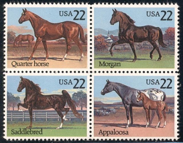 US Scott #2155-2158 Horses horses on stamps  animals on stamps wildlife stamps topical stamp collecting thematic stamp collector  collecting postage stamps as a hobby horse breeds types of horses stamp collector of fauna wild animals on stamps wildlife on stamps mammals on stamps postage stamps of the world   FDC