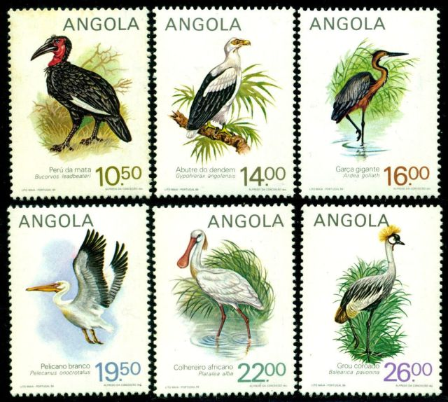Angola 1984 Birds Hornbill Vulture Eagle Heron Pelican Spoonbill Angola  Mi.#701-#706   animals on stamps wildlife stamps  postage stamps collecting postage stamps collecting topical postage stamps thematic stamp collector african postage stamps angolan postage stamps african wildlife on stamps african stamp collecting collecting thematic postage stamps topical postage stamps birds on postage stamp bird postage stamps birds on stamps african birds on postage stamps