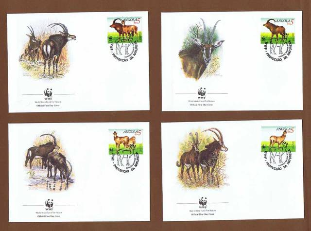 Angola 1990 Sable Antelope WWF First Day Covers world wildlife funds antelopes of africa african postage stamps thematic postage stamp collection topical stamp collecting animals on stamps wildlife postage stamps wildlife stamps wild animals of africa african postage stamps angolan postage stamps collecting postage stamps as a hobby african antelope on postage stamps mammals