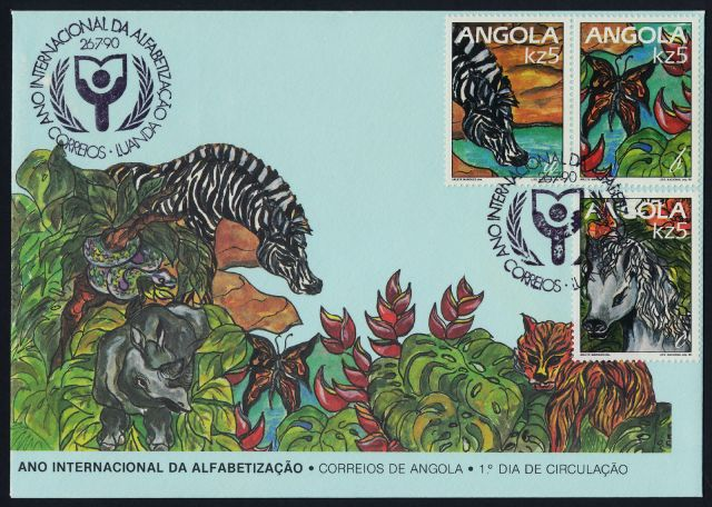 Angola Scott #790-#792 on First Day Cover - Zebra, Butterfly, Horse   animals on stamps postage stamp collecting topical stamp collection thematic stamp collecting wildlife stamps wild animals on postage stamps  collecting postage stamps  wildllife stamps zebra stamps butterfly stamps horse stamps collecting first day covers animals on first day covers FDC mammals on stamps postage stamps from africa angolan postage stamps collecting african stamps collecting angolan postage stamps