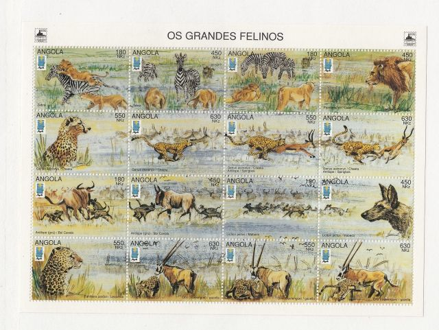 Angola Scott # 961 1996  Wild Animals  wildlife postage stamps of africa  angolan postage stamps  collecting postage stamps thematic stamp collection topical stamp collecting  wildlife on stamps african wildlife postage stamps depicting animals collect postage stamps stamp collecting for the beginner  wild animals of africa angola wild animals on african postage stamps collecting african postage stamps collecting animal stamps