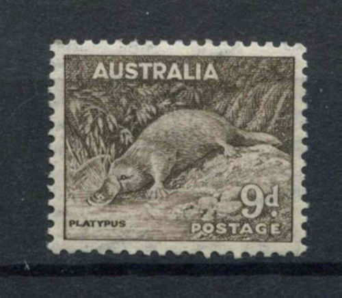 Australia 1937 Platypus 9d  thematic stamp collecting mammals on stamps fauna on stamps philatelist  philatelic collection  philatelic collector stamp collecting for beginners Australian wildlife Australian fauna Australia topical stamp collecting zoological stamps  animals on stamps wildlife stamps Australian postage stamps topical stamp collection Duck-billed Platypus Ornithorhynchus anatinus