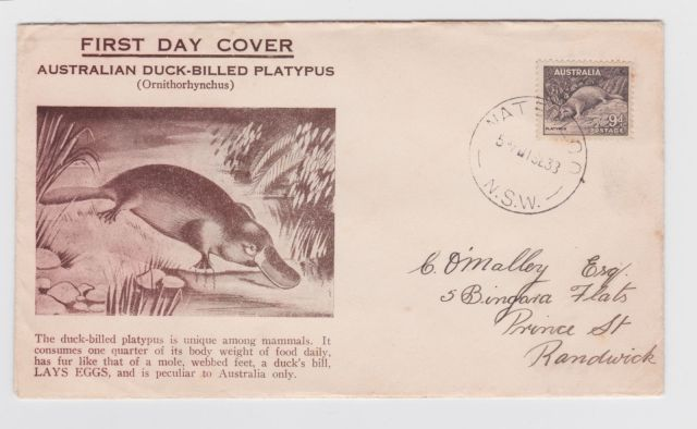 Australia 1937 Platypus 9d FDC     thematic stamp collecting mammals on stamps fauna on stamps philatelist  philatelic collection  philatelic collector stamp collecting for beginners Australian wildlife Australian fauna Australia topical stamp collecting zoological stamps  animals on stamps wildlife stamps Australian postage stamps topical stamp collection