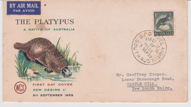 Australia 1959 Platypus 1 - FDC  thematic stamp collecting mammals on stamps fauna on stamps philatelist  philatelic collection  philatelic collector stamp collecting for beginners Australian wildlife Australian fauna Australia topical stamp collecting zoological stamps  animals on stamps wildlife stamps Australian postage stamps topical stamp collection    Duck-billed Platypus Ornithorhynchus anatinus