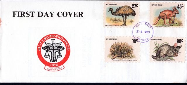 Australia 1983 - Emu Kangaroo Possum Echidna Cinderella Cover Hutt River Province  1 animal stamp wildlife stamp topical stamp collecting thematic stamp collecting Australian wildlife postage stamps  spiny anteater collecting postage stamps  Australian spiny anteater  echidna Short-beaked echidna Tachyglossus aculeatus