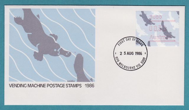 AUSTRALIA   1986 Vending Machine platypus with postcode FDC  Ornithorhynchus anatinus  zoological stamps  animals on stamps wildlife stamps Australian postage stamps topical stamp collection thematic stamp collecting mammals on stamps fauna on stamps philatelist  philatelic collection  philatelic collector stamp collecting for beginners Australian wildlife Australian fauna Australia topical stamp collecting
