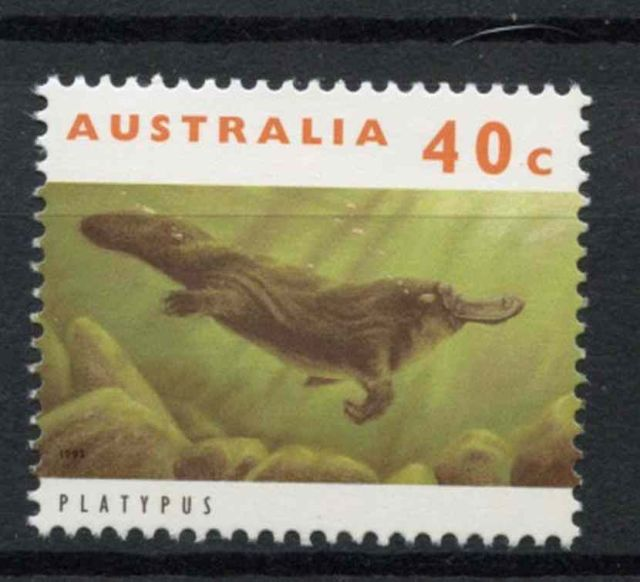 Australia 1992-1998 SG#1363, 40c Wildlife Definitive  Ornithorhynchus anatinus  zoological stamps  animals on stamps wildlife stamps Australian postage stamps topical stamp collection thematic stamp collecting mammals on stamps fauna on stamps philatelist  philatelic collection  philatelic collector stamp collecting for beginners Australian wildlife Australian fauna Australia topical stamp collecting