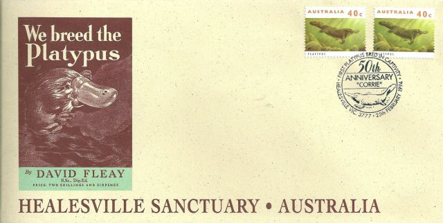 Australia 1994 Healesville Sanctuary souvenir cover for Corrie the Platypus  Ornithorhynchus anatinus  zoological stamps  animals on stamps wildlife stamps Australian postage stamps topical stamp collection thematic stamp collecting mammals on stamps fauna on stamps philatelist  philatelic collection  philatelic collector stamp collecting for beginners Australian wildlife Australian fauna Australia topical stamp collecting
