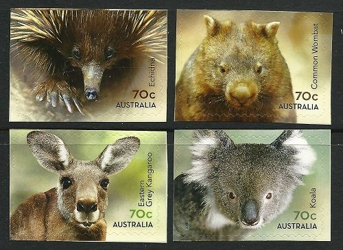 AUSTRALIA - 2015 Australia - Native Animals (4) self adhesive animal stamp wildlife stamp topical stamp collecting thematic stamp collecting Australian wildlife postage stamps  spiny anteater collecting postage stamps  Australian spiny anteater  echidna Short-beaked echidna Tachyglossus aculeatus
