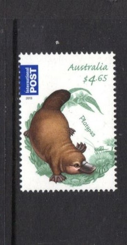 AUSTRALIA $4.65 INTERNATIONAL PLATYPUS  Ornithorhynchus anatinus  zoological stamps  animals on stamps wildlife stamps Australian postage stamps topical stamp collection thematic stamp collecting mammals on stamps fauna on stamps philatelist  philatelic collection  philatelic collector stamp collecting for beginners Australian wildlife Australian fauna Australia topical stamp collecting