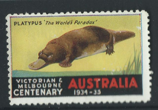 Australia Centenary Cinderella stamp 1934 1935 Victoria Melbourne duck-billed Platypus    Ornithorhynchus anatinus  zoological stamps  animals on stamps wildlife stamps Australian postage stamps topical stamp collection thematic stamp collecting mammals on stamps fauna on stamps philatelist  philatelic collection  philatelic collector stamp collecting for beginners Australian wildlife Australian fauna Australia topical stamp collecting