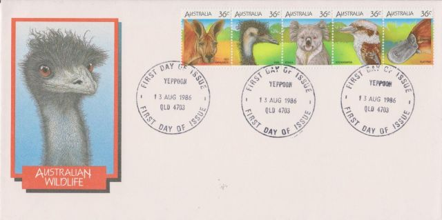 Australia1986 AU FDC 36c x5 Australian wild life  Ornithorhynchus anatinus  zoological stamps  animals on stamps wildlife stamps Australian postage stamps topical stamp collection thematic stamp collecting mammals on stamps fauna on stamps philatelist  philatelic collection  philatelic collector stamp collecting for beginners Australian wildlife Australian fauna Australia topical stamp collecting