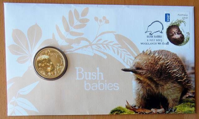 AUSTRALIAN BUSH BABIES - ECHIDNA - 2013  Short-beaked echidna Tachyglossus aculeatus    animal stamp wildlife stamp topical stamp collecting thematic stamp collecting Australian wildlife postage stamps  spiny anteater collecting postage stamps  Australian spiny anteater  echidna